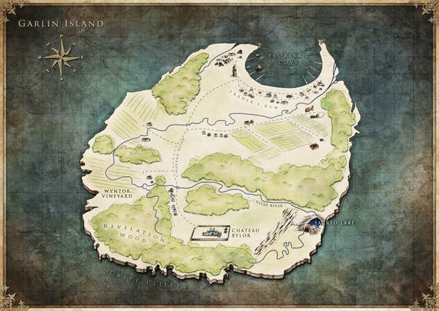 Map of Garlin Island designed by Tiphs - Fallen Flame by J.M. Miller
